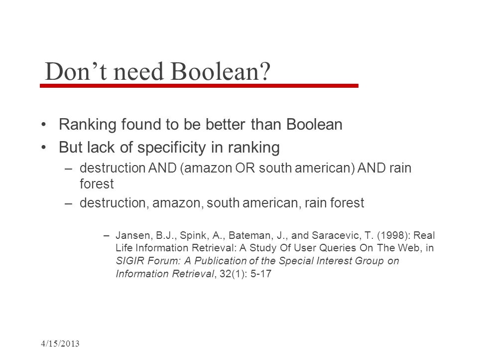 Don't need Boolean.