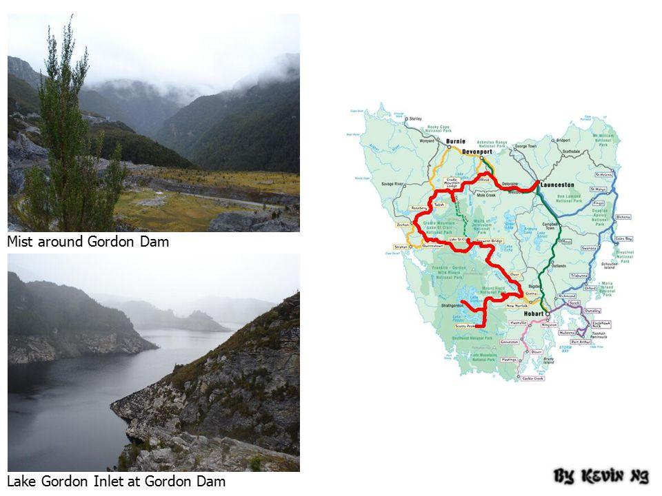 Mist around Gordon Dam Lake Gordon Inlet at Gordon Dam