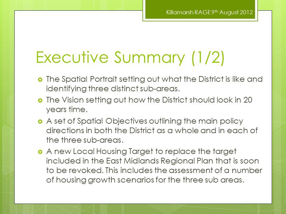 Killamarsh RAGE 9 th August 2012 Consultation Comments 9.