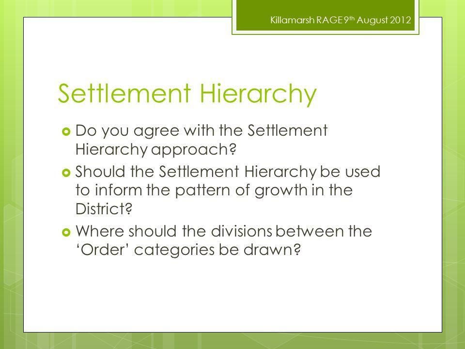 Killamarsh RAGE 9 th August 2012 Settlement Hierarchy  Do you agree with the Settlement Hierarchy approach.