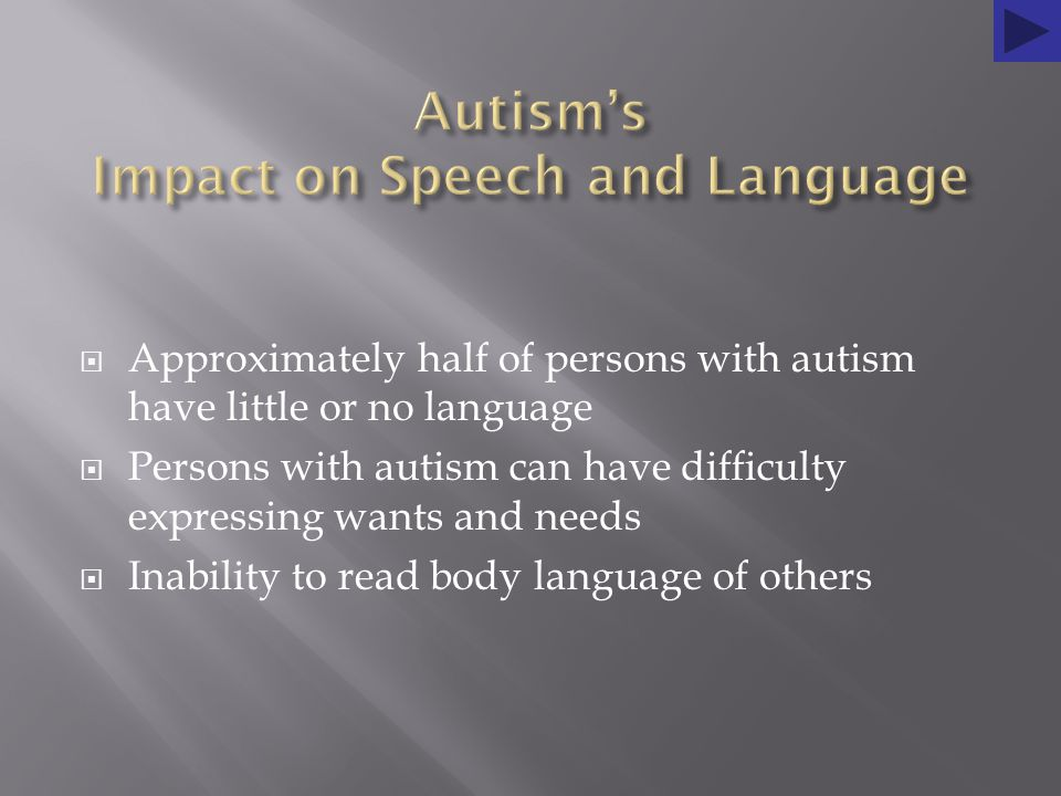  Approximately half of persons with autism have little or no language  Persons with autism can have difficulty expressing wants and needs  Inability to read body language of others