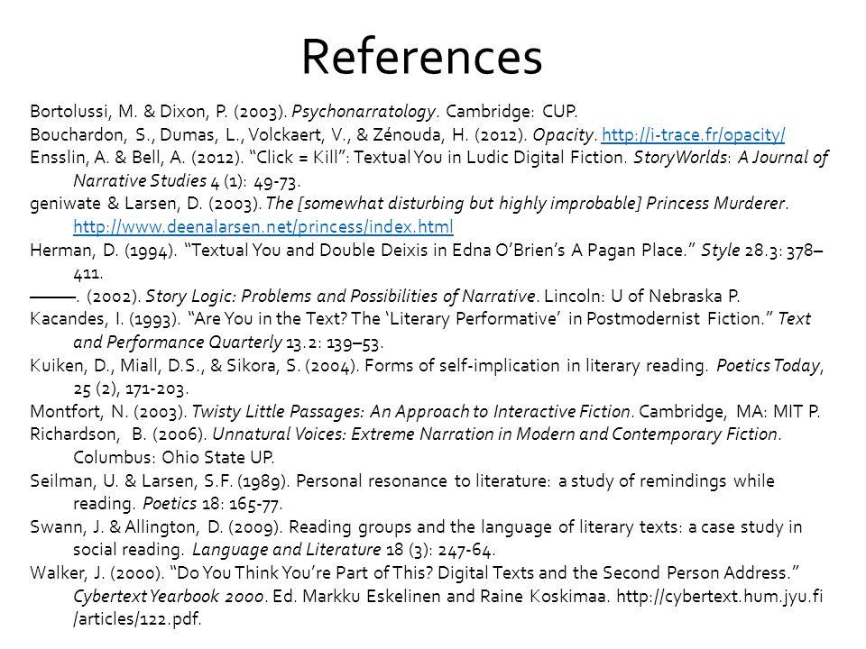 References Bortolussi, M.& Dixon, P. (2003). Psychonarratology.