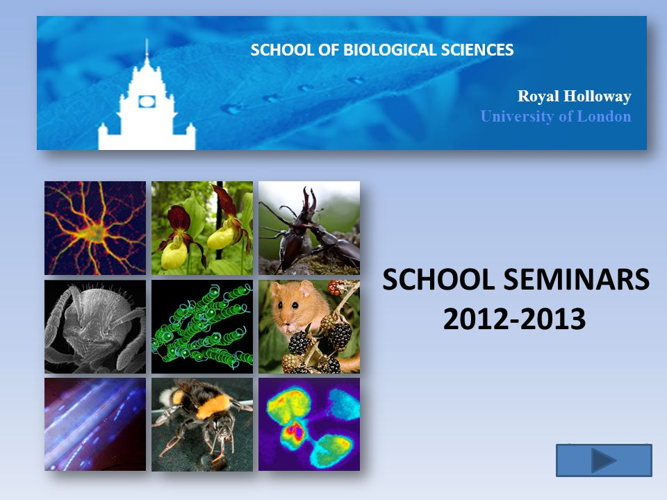 SCHOOL OF BIOLOGICAL SCIENCES Royal Holloway University of London SCHOOL SEMINARS 2012-2013