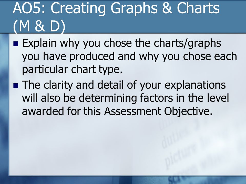 AO5: Creating Graphs & Charts (M & D) Explain why you chose the charts/graphs you have produced and why you chose each particular chart type. The clar