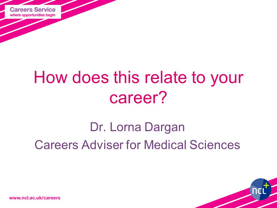 How does this relate to your career Dr. Lorna Dargan Careers Adviser for Medical Sciences
