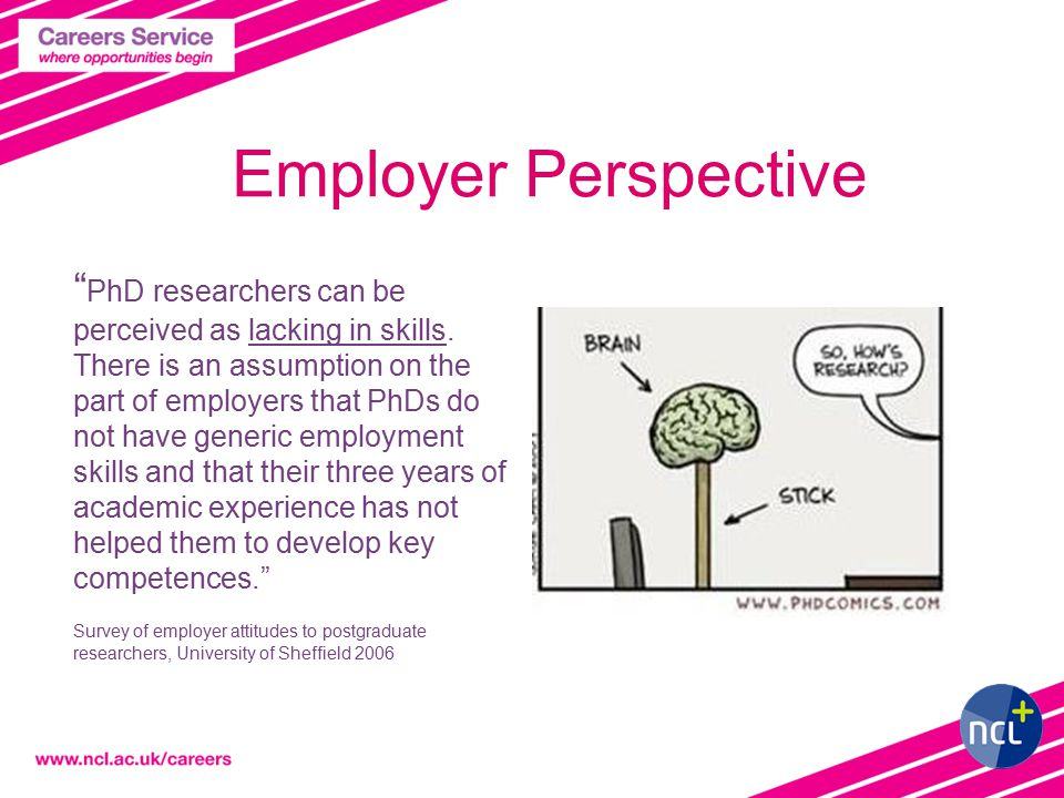 Employer Perspective PhD researchers can be perceived as lacking in skills.