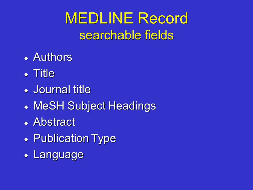 MEDLINE Record searchable fields Authors Authors Title Title Journal title Journal title MeSH Subject Headings MeSH Subject Headings Abstract Abstract
