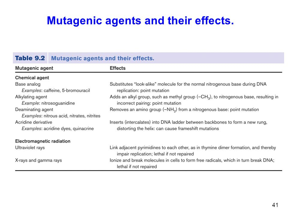41 Mutagenic agents and their effects.