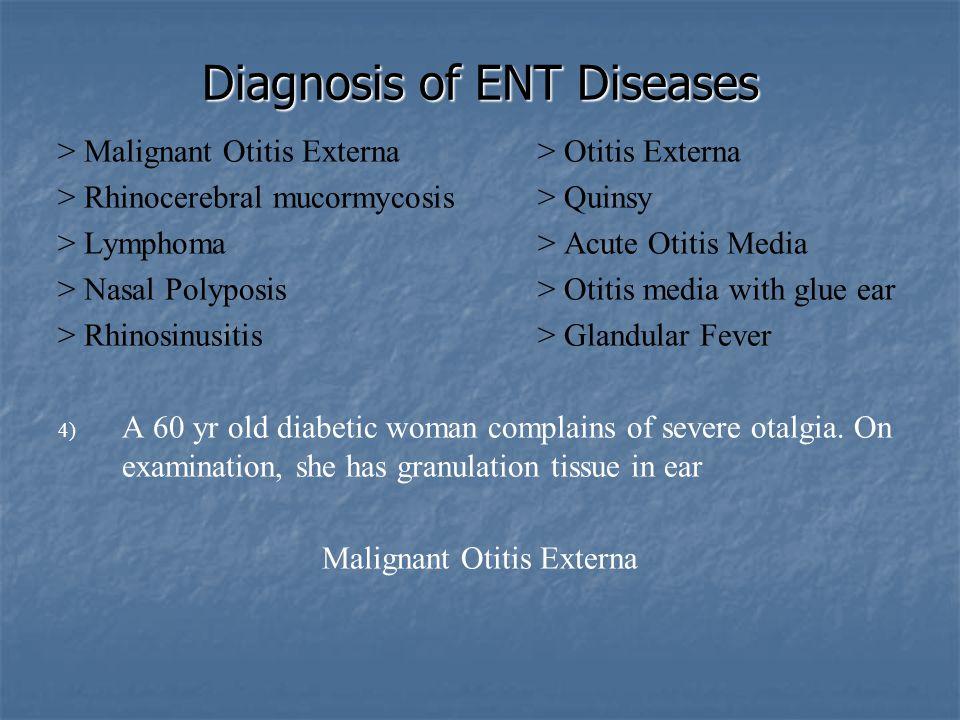 Diagnosis of ENT Diseases > Malignant Otitis Externa> Otitis Externa > Rhinocerebral mucormycosis> Quinsy > Lymphoma> Acute Otitis Media > Nasal Polyp