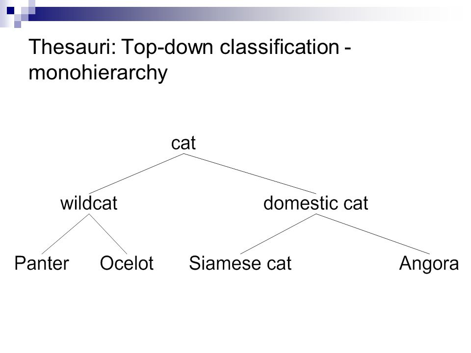 Thesauri: Top-down classification - monohierarchy