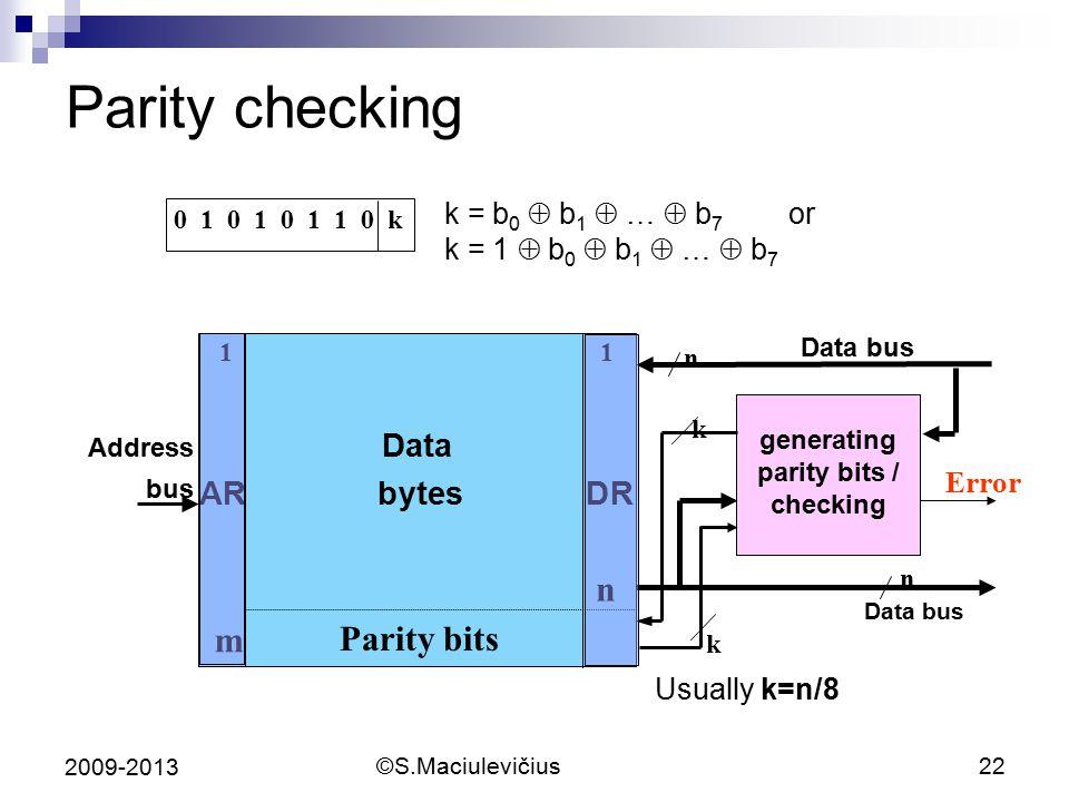 ©S.Maciulevičius22 2009-2013 Parity checking k = b 0  b 1  …  b 7 or k = 1  b 0  b 1  …  b 7 0 1 0 1 0 1 1 0 k Data bus Error Data bus Usually