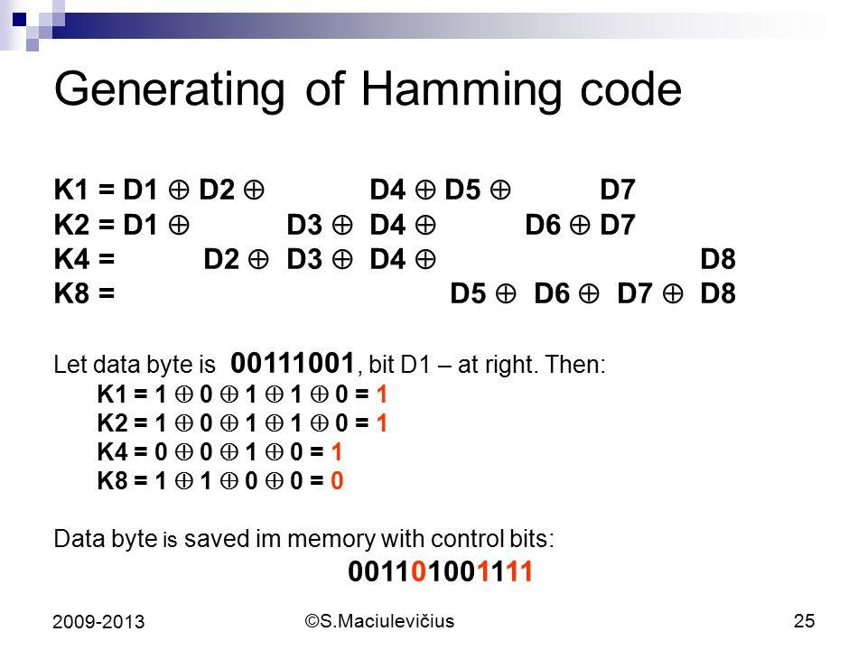 ©S.Maciulevičius25 2009-2013 Generating of Hamming code K1 = D1  D2  D4  D5  D7 K2 = D1  D3  D4  D6  D7 K4 = D2  D3  D4  D8 K8 = D5  D6 
