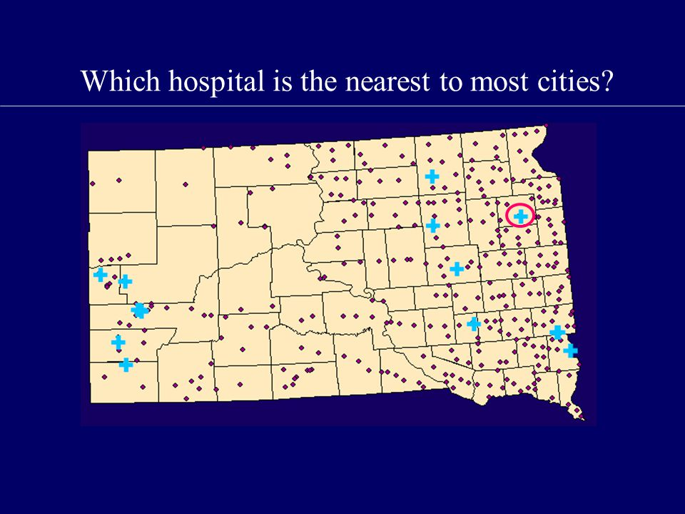 Which hospital is the nearest to most cities