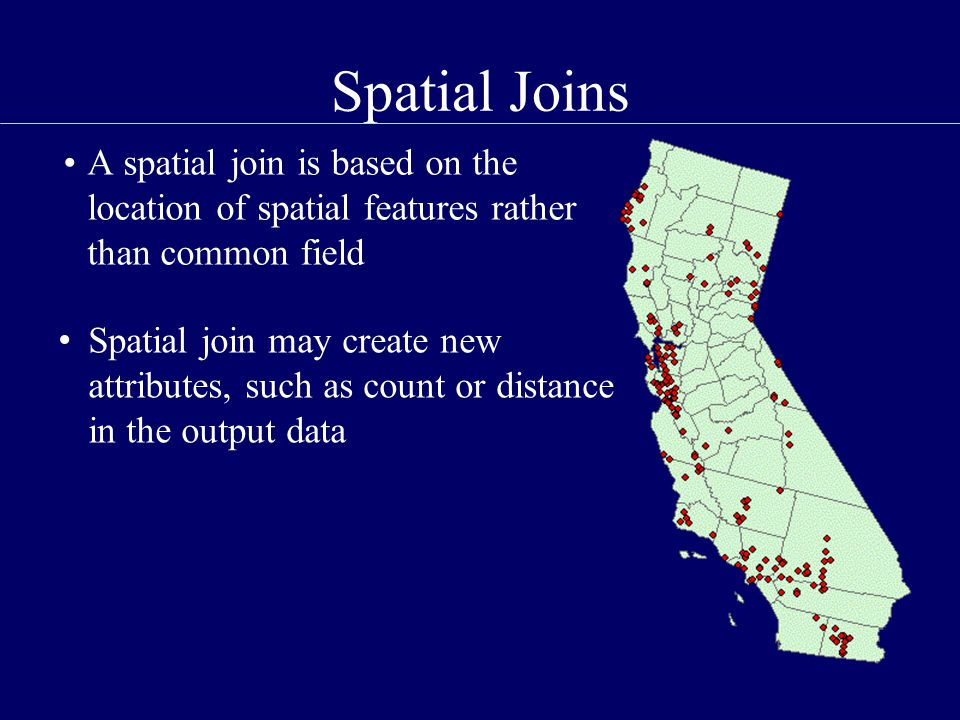 Spatial Joins A spatial join is based on the location of spatial features rather than common field Spatial join may create new attributes, such as count or distance in the output data