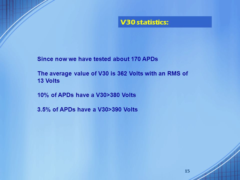 15 Since now we have tested about 170 APDs The average value of V30 is 362 Volts with an RMS of 13 Volts 10% of APDs have a V30>380 Volts 3.5% of APDs have a V30>390 Volts V30 statistics:
