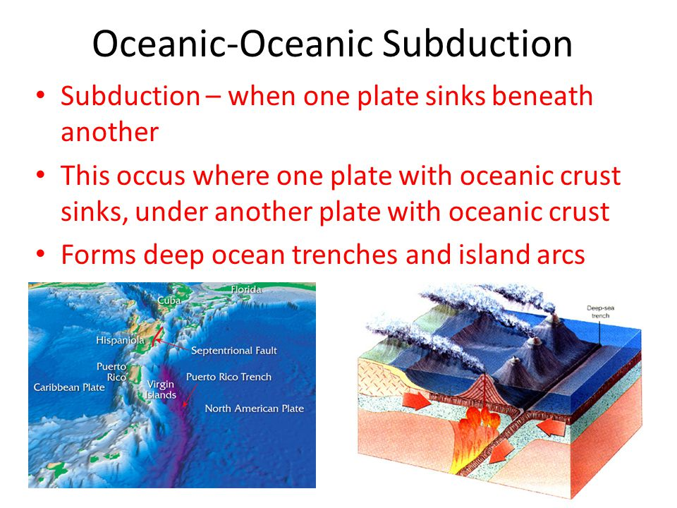Oceanic – Continental Subduction Occurs when ocean crust sinks under continental crust Forms deep-ocean trenches and coastal mountains