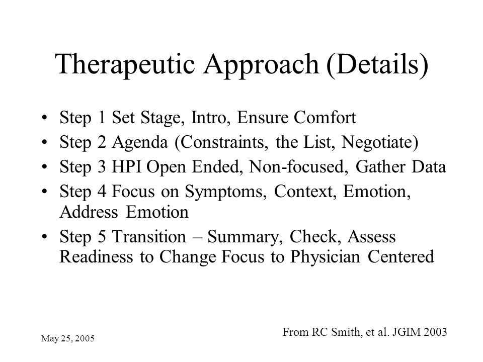 May 25, 2005 Therapeutic Approach (Details) Step 1 Set Stage, Intro, Ensure Comfort Step 2 Agenda (Constraints, the List, Negotiate) Step 3 HPI Open Ended, Non-focused, Gather Data Step 4 Focus on Symptoms, Context, Emotion, Address Emotion Step 5 Transition – Summary, Check, Assess Readiness to Change Focus to Physician Centered From RC Smith, et al.