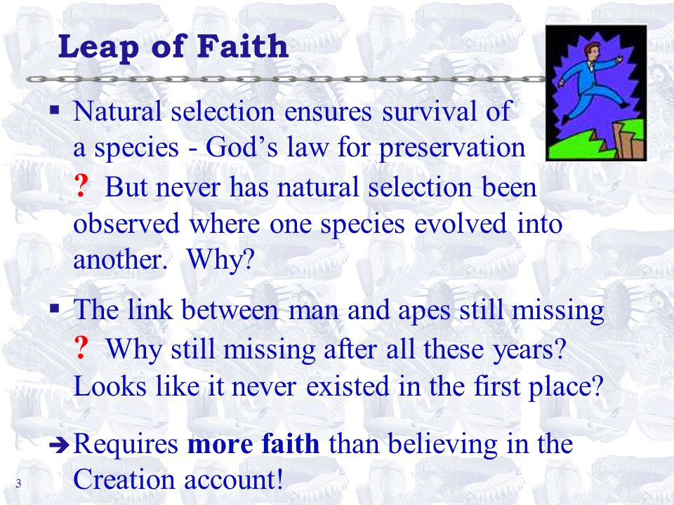 3 Leap of Faith §Natural selection ensures survival of a species - God's law for preservation .
