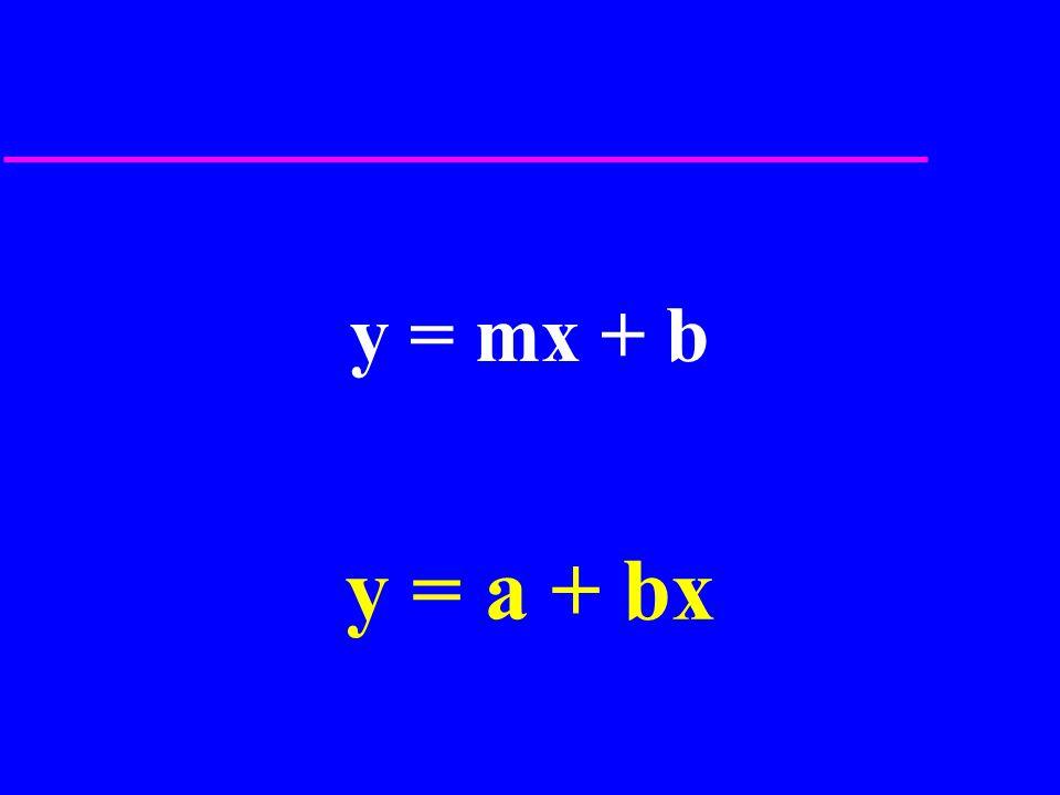 y = mx + b y = a + bx