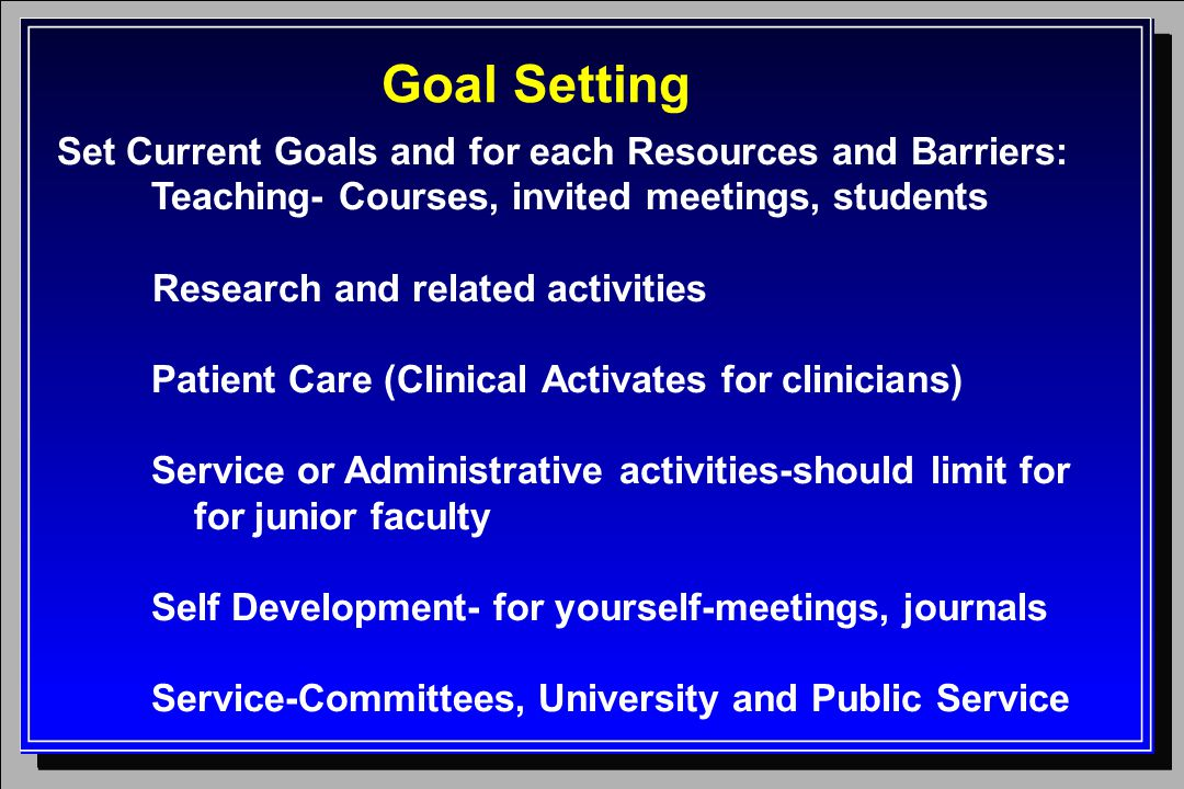 Goal Setting Set Current Goals and for each Resources and Barriers: Teaching- Courses, invited meetings, students Research and related activities Patient Care (Clinical Activates for clinicians) Service or Administrative activities-should limit for for junior faculty Self Development- for yourself-meetings, journals Service-Committees, University and Public Service