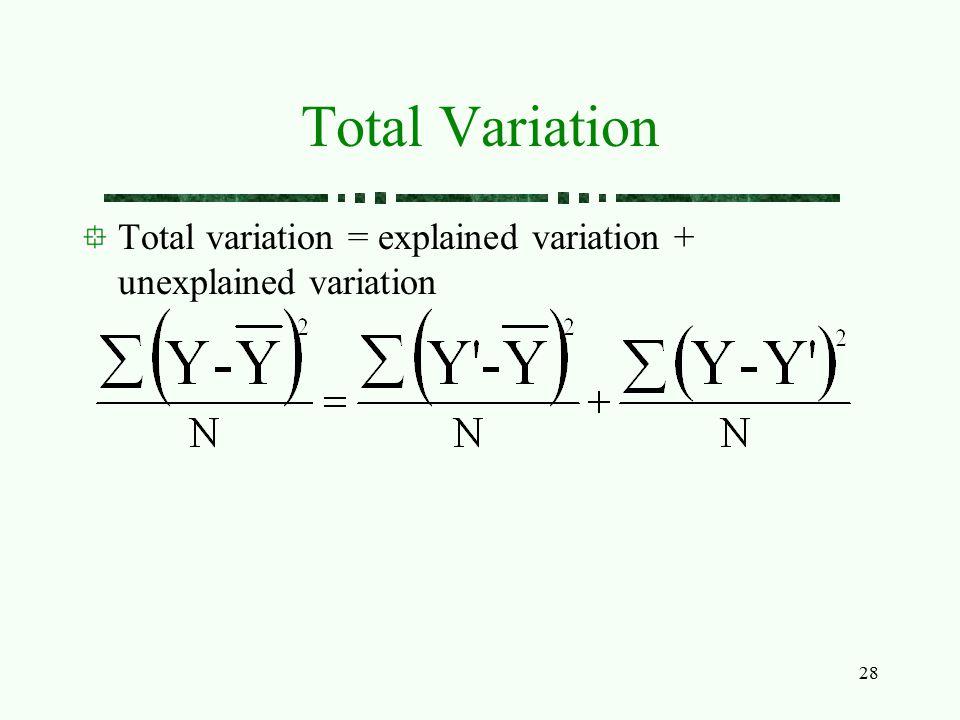 28 Total Variation Total variation = explained variation + unexplained variation