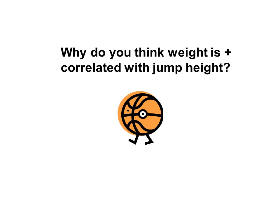 Why do you think weight is + correlated with jump height?