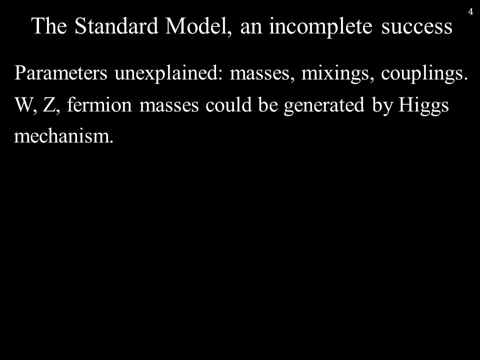 5 The Standard Model, an incomplete success Parameters unexplained: masses, mixings, couplings.
