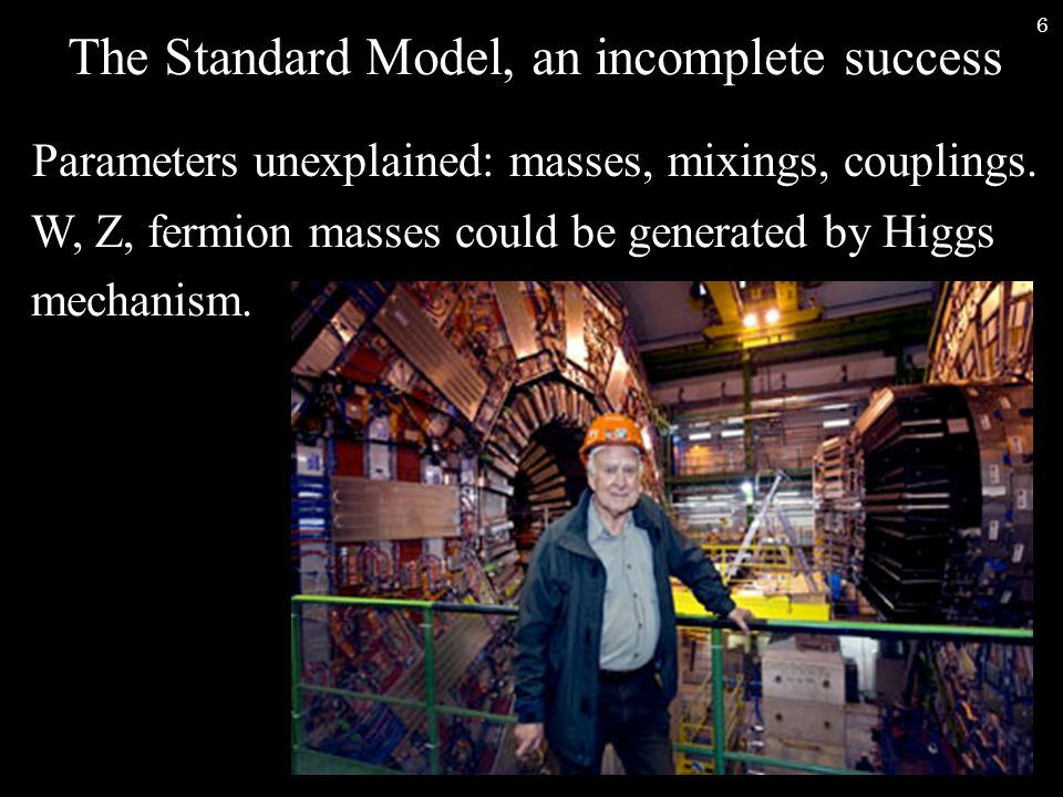 7 The Standard Model, an incomplete success Parameters unexplained: masses, mixings, couplings.