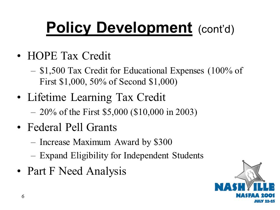 6 HOPE Tax Credit –$1,500 Tax Credit for Educational Expenses (100% of First $1,000, 50% of Second $1,000) Lifetime Learning Tax Credit –20% of the First $5,000 ($10,000 in 2003) Federal Pell Grants –Increase Maximum Award by $300 –Expand Eligibility for Independent Students Part F Need Analysis