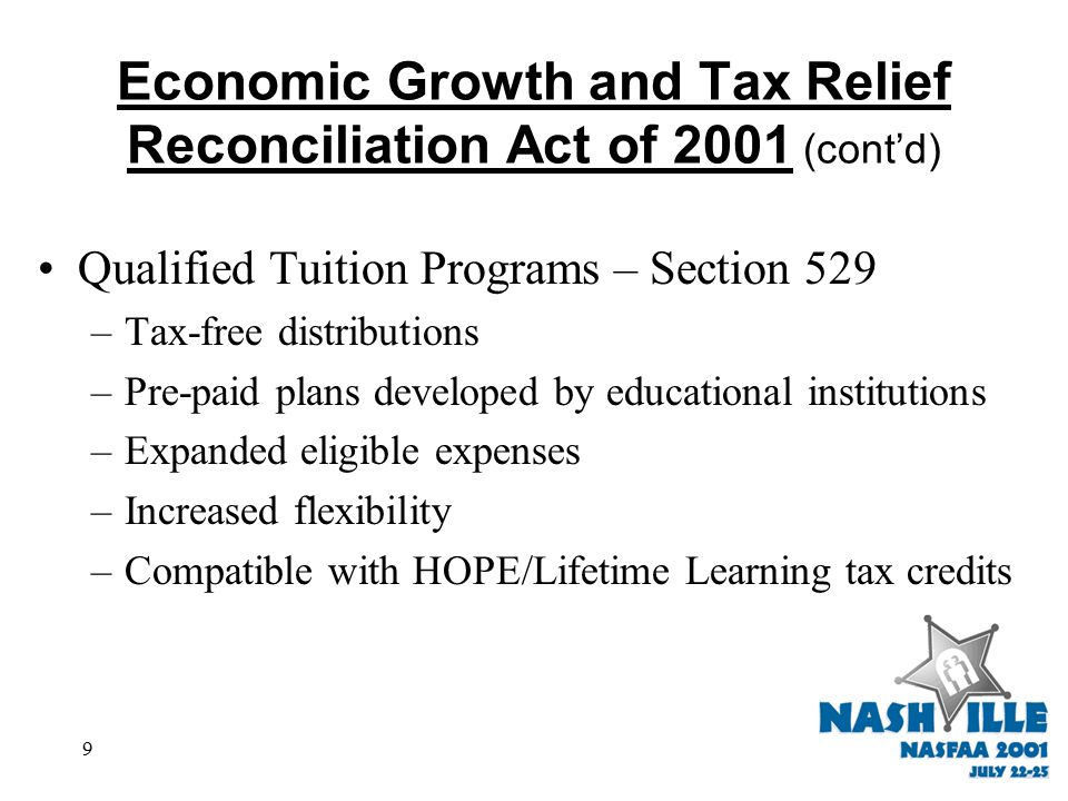 9 Economic Growth and Tax Relief Reconciliation Act of 2001 (cont'd) Qualified Tuition Programs – Section 529 –Tax-free distributions –Pre-paid plans