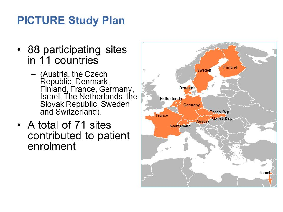 PICTURE Study Plan 88 participating sites in 11 countries –(Austria, the Czech Republic, Denmark, Finland, France, Germany, Israel, The Netherlands, the Slovak Republic, Sweden and Switzerland).