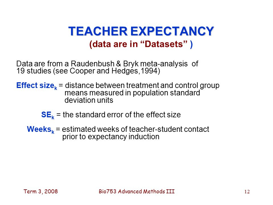 Term 3, 2008Bio753 Advanced Methods III12 TEACHER EXPECTANCY TEACHER EXPECTANCY (data are in Datasets ) Data are from a Raudenbush & Bryk meta-analysis of 19 studies (see Cooper and Hedges,1994) Effect size k = distance between treatment and control group means measured in population standard deviation units SE k = the standard error of the effect size Weeks k = estimated weeks of teacher-student contact prior to expectancy induction