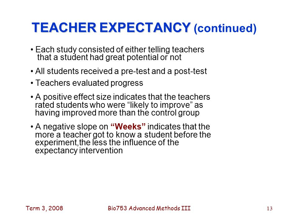 Term 3, 2008Bio753 Advanced Methods III13 TEACHER EXPECTANCY TEACHER EXPECTANCY (continued) Each study consisted of either telling teachers that a student had great potential or not All students received a pre-test and a post-test Teachers evaluated progress A positive effect size indicates that the teachers rated students who were likely to improve as having improved more than the control group A negative slope on Weeks indicates that the more a teacher got to know a student before the experiment,the less the influence of the expectancy intervention