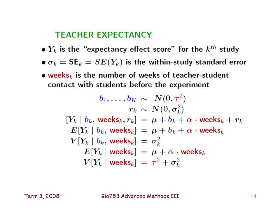 Term 3, 2008Bio753 Advanced Methods III14