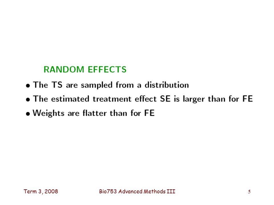 Term 3, 2008Bio753 Advanced Methods III5