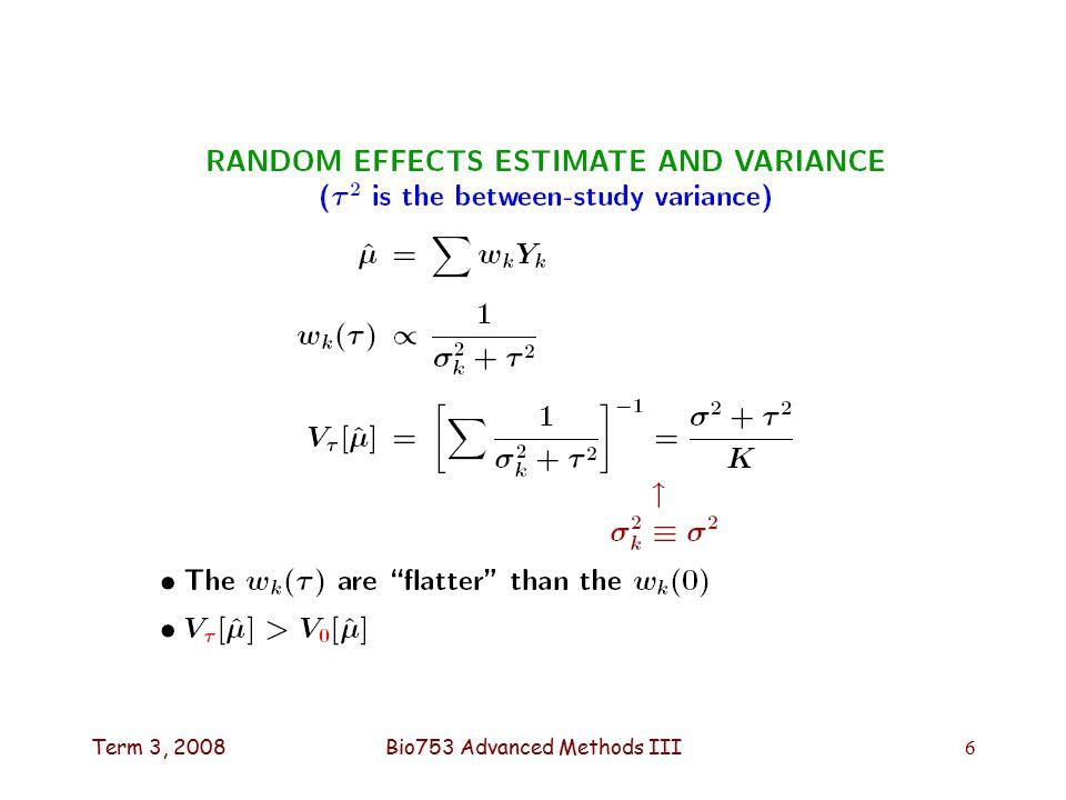 Term 3, 2008Bio753 Advanced Methods III6