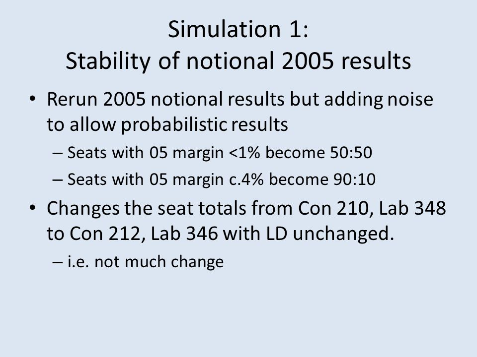 Simulation 1: Stability of notional 2005 results Rerun 2005 notional results but adding noise to allow probabilistic results – Seats with 05 margin <1