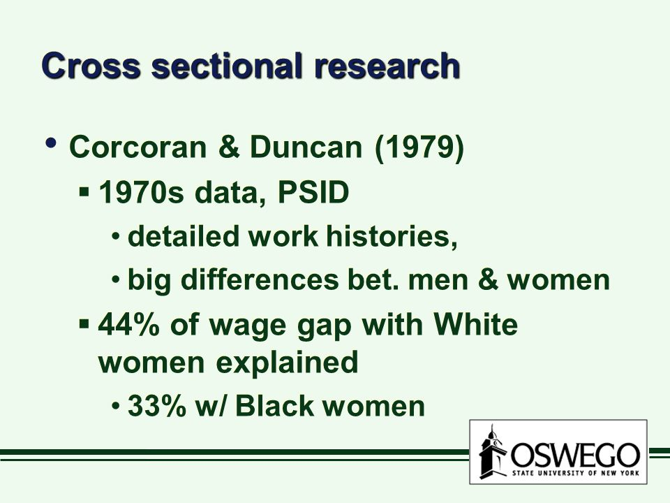Cross sectional research Corcoran & Duncan (1979)  1970s data, PSID detailed work histories, big differences bet.