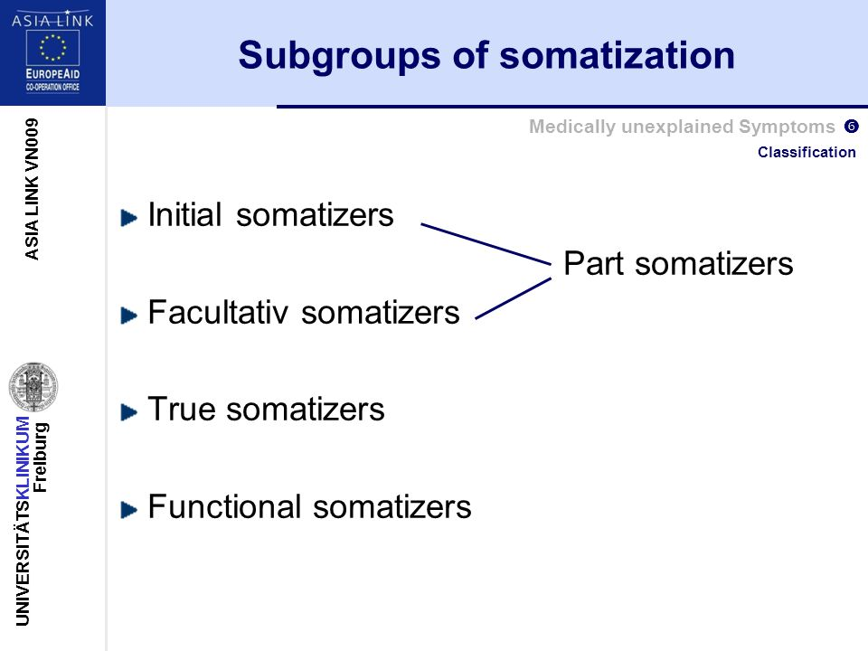 UNIVERSITÄTSKLINIKUM Freiburg ASIA LINK VN009 Medically unexplained Symptoms  Subgroups of somatization Initial somatizers Part somatizers Facultativ somatizers True somatizers Functional somatizers Classification