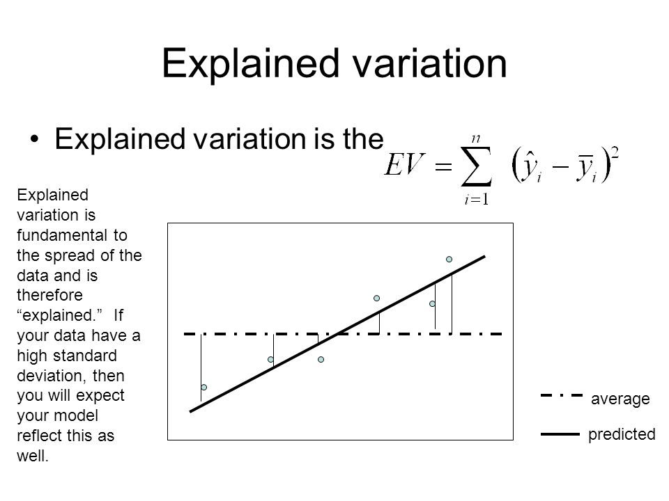 Explained variation Explained variation is the average predicted Explained variation is fundamental to the spread of the data and is therefore explained. If your data have a high standard deviation, then you will expect your model reflect this as well.