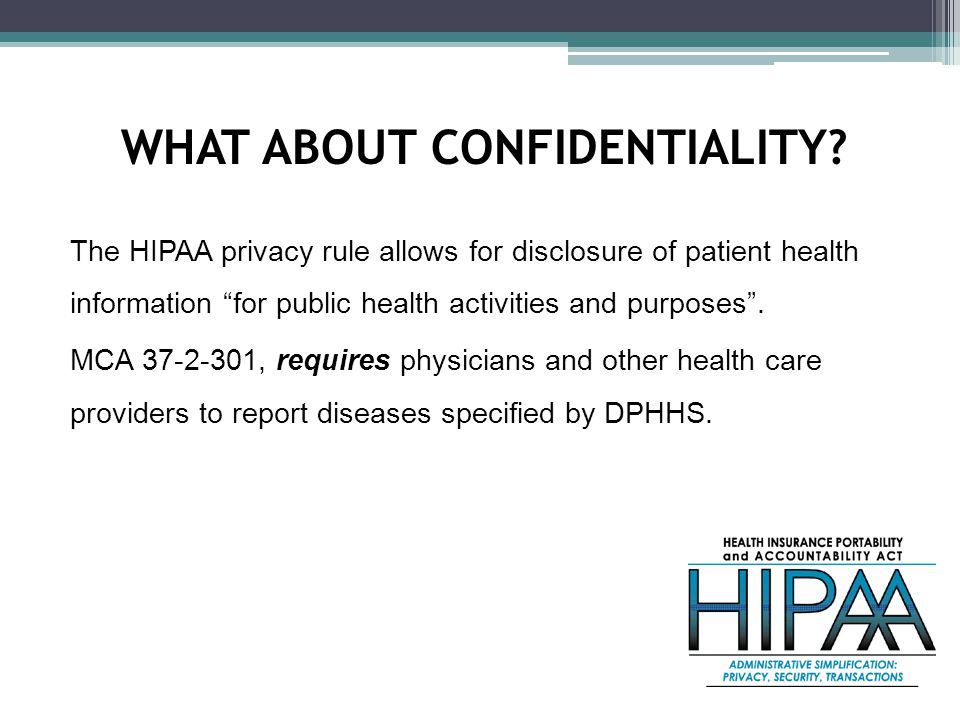 The HIPAA privacy rule allows for disclosure of patient health information for public health activities and purposes .