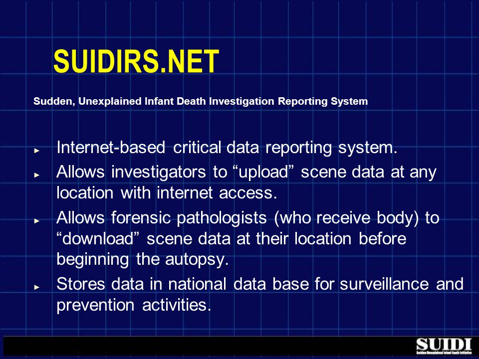SUIDIRS.NET Sudden, Unexplained Infant Death Investigation Reporting System ► Internet-based critical data reporting system.