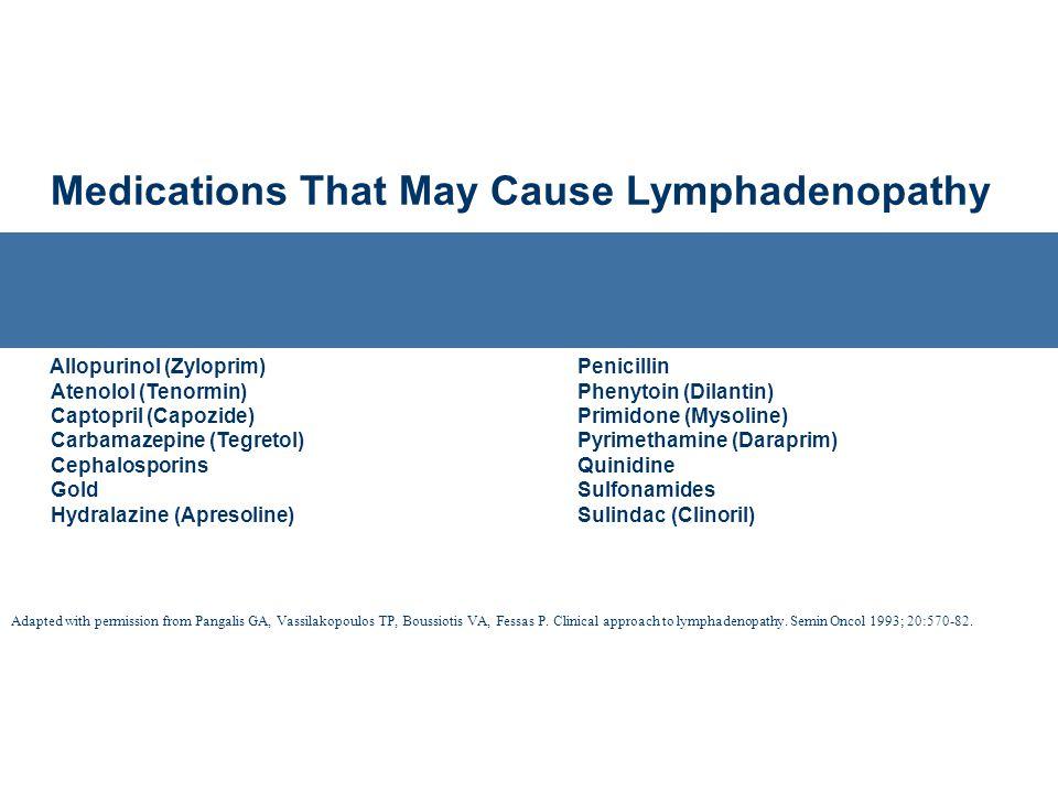 Medications That May Cause Lymphadenopathy Allopurinol (Zyloprim) Atenolol (Tenormin) Captopril (Capozide) Carbamazepine (Tegretol) Cephalosporins Gol