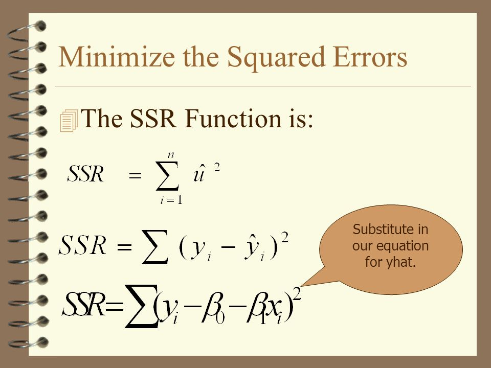 Minimize the Squared Errors 4 The SSR Function is: Substitute in our equation for yhat.