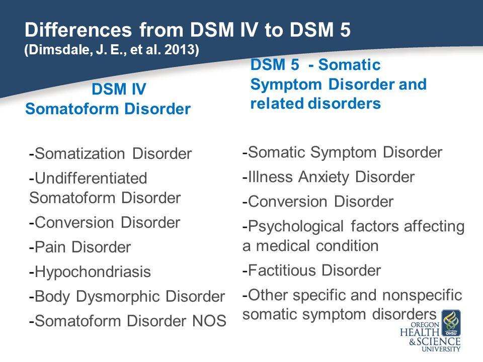 Differences from DSM IV to DSM 5 (Dimsdale, J. E., et al. 2013) D DSM IV Somatoform Disorder -Somatization Disorder -Undifferentiated Somatoform Disor