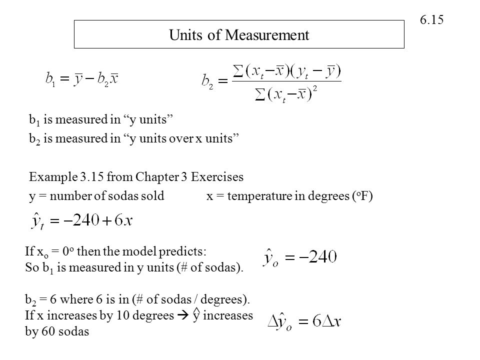 "6.15 Units of Measurement b 1 is measured in ""y units"" b 2 is measured in ""y units over x units"" Example 3.15 from Chapter 3 Exercises y = number of s"