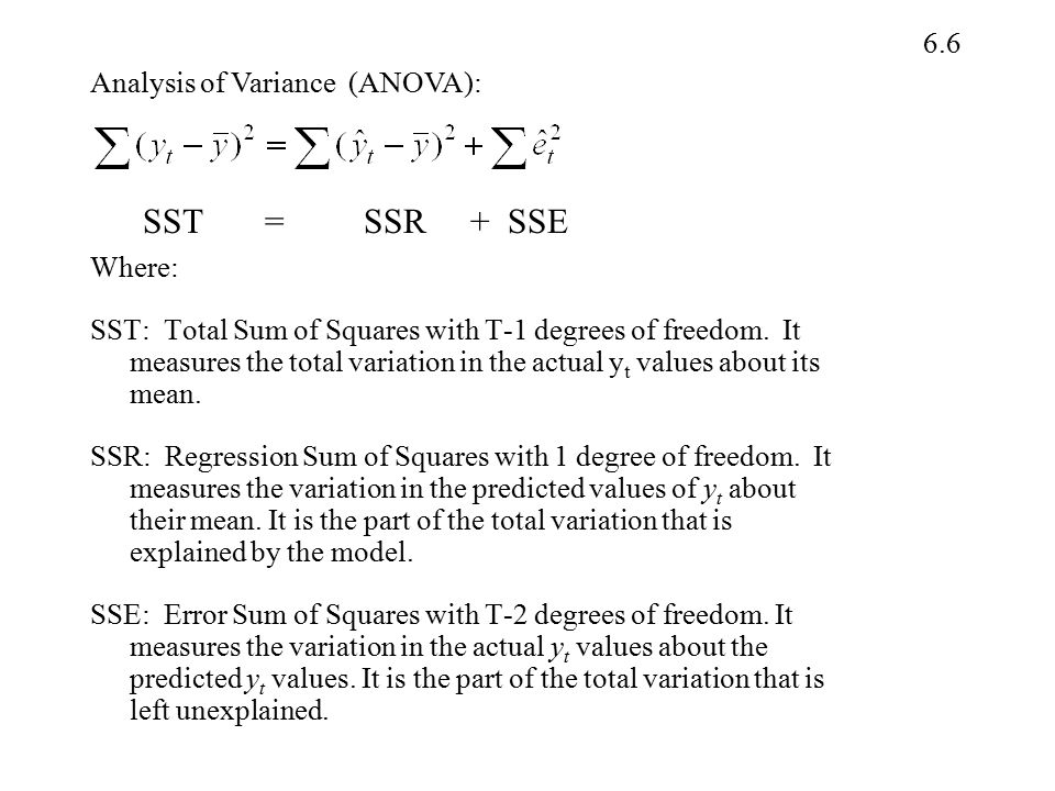 6.6 Where: SST: Total Sum of Squares with T-1 degrees of freedom. It measures the total variation in the actual y t values about its mean. SSR: Regres