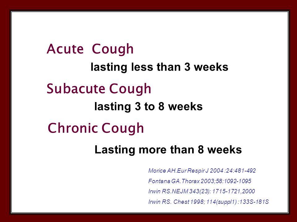 Acute Cough lasting less than 3 weeks Subacute Cough lasting 3 to 8 weeks Chronic Cough Lasting more than 8 weeks Morice AH.Eur Respir J 2004 :24:481-