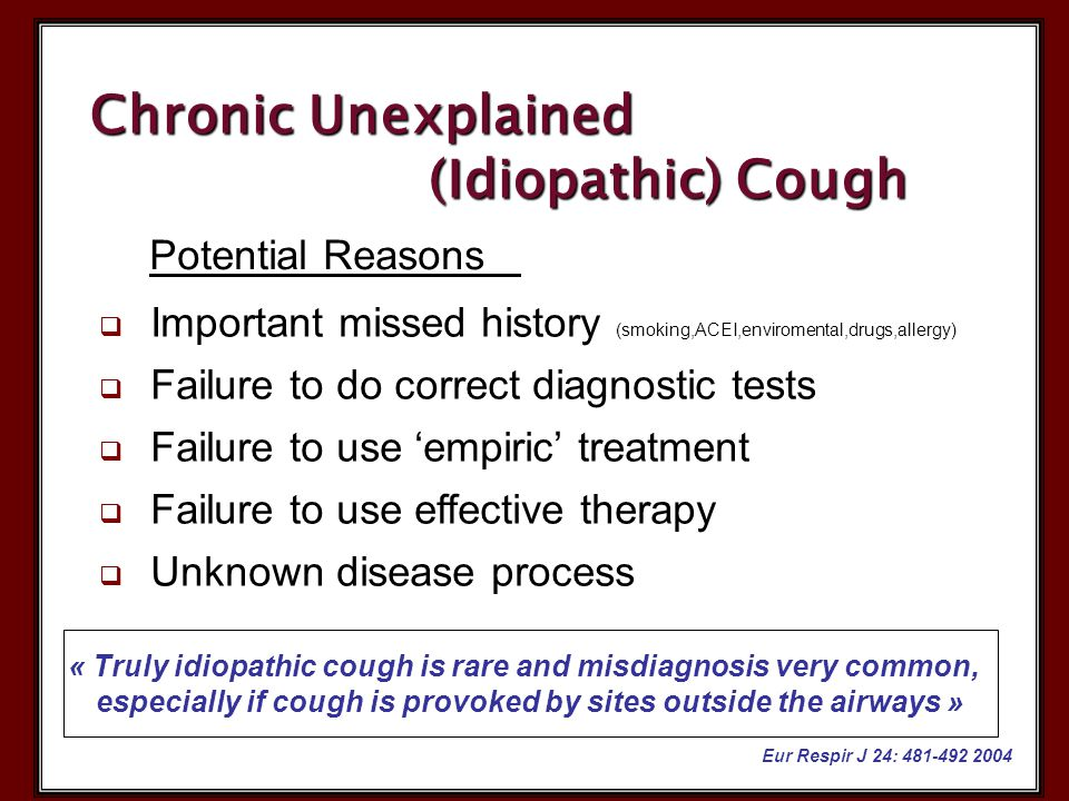  Important missed history (smoking,ACEI,enviromental,drugs,allergy)  Failure to do correct diagnostic tests  Failure to use 'empiric' treatment  F