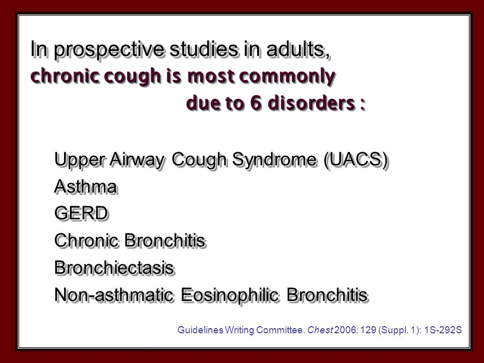 Psychogenic Cough Cough is often triggered by a common cold Usually dissapears during sleep Like a dog barking The diagnosis of psychogenic cough is one of exclusion, after ruling out an organic or functional cause of cough.
